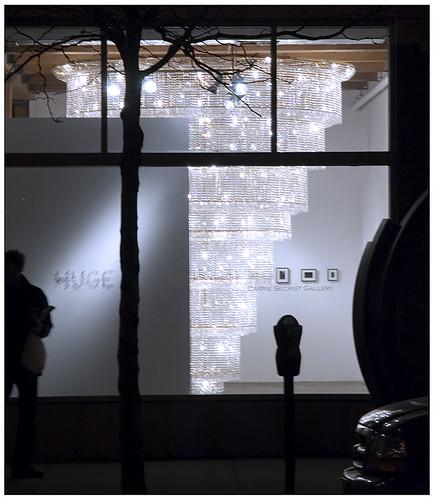 street scene with chandelier