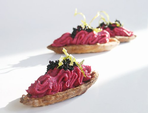 Salmon and beet mousse barquettes