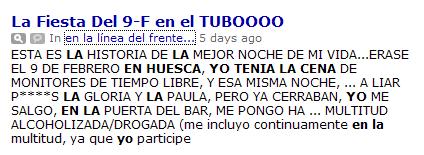 Post del detenido en Huesca