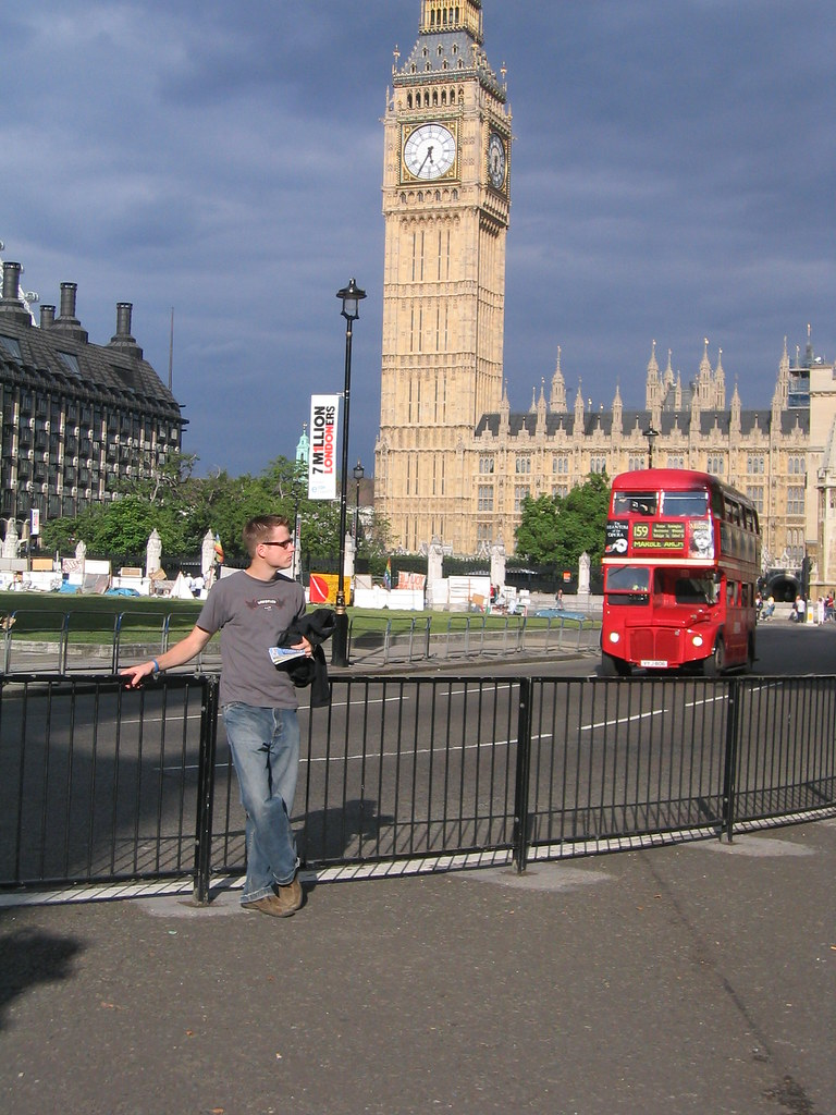 double decker bus, the parliment and me