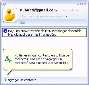 Listo, Gmail en el Messenger