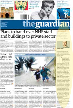 Front page of today's Guardian