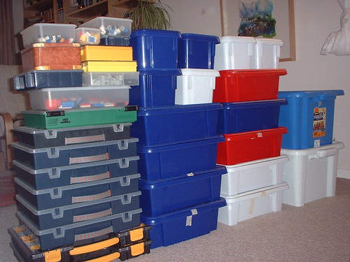 Boxes (stacked) with notes