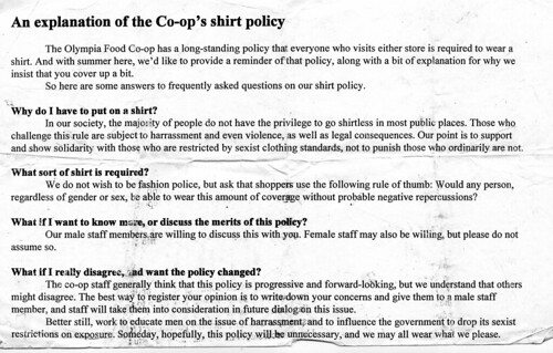 co-op shirt policy