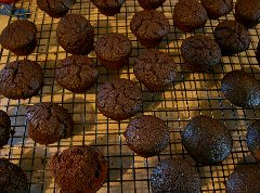beetroot choc mini-cakes cooling on the rack