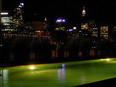 Rooftop pool and city lights 2