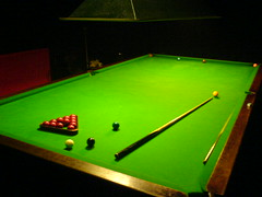 Re-racking the snooker table at Marco's Edinburgh