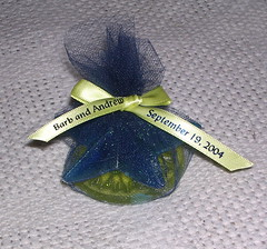 A completed wedding favor