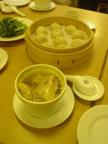 From top: hsiao long bao and chicken soup