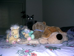 Artemis with a mountain of stuffed animals