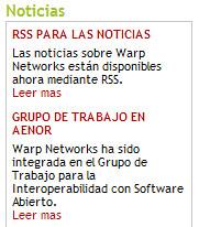 Titulares de noticias en warp.es