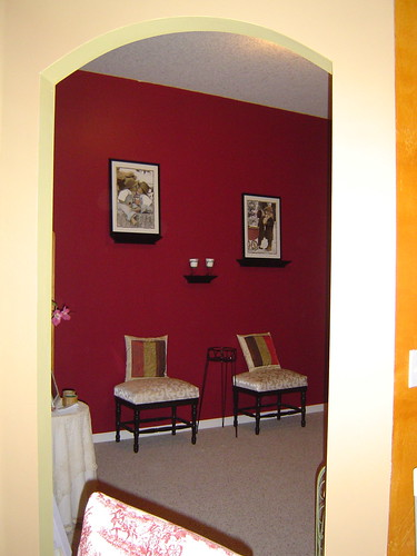 cranberry wall with ledges