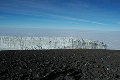 De gletsjer, gezien van op Uhuru Peak