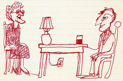 woman table man