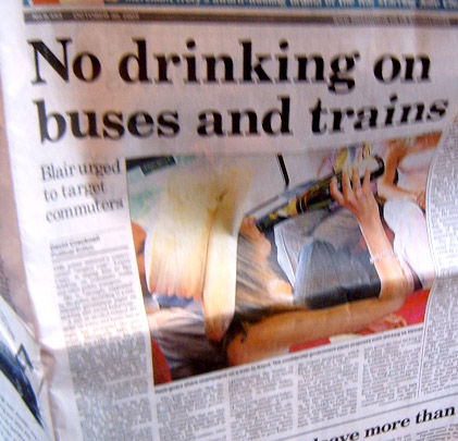 No Drinking on public transport proposal - Sunday Times 30th October