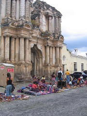 Market in front of ruined church, Antigua