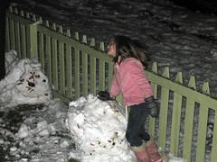 Martha makes a snowman