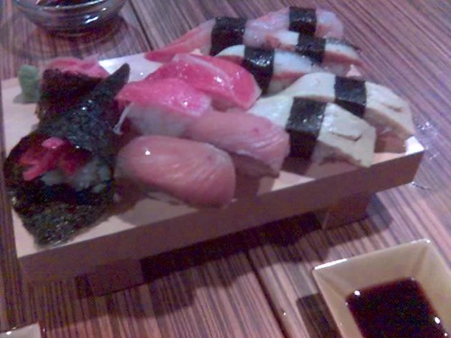 Clockwise from left: Negitoro Temaki, Toro, Amaebi, Unagi, Tamago, and Hamachi