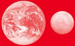 Erde und Mars im Größenvergleich