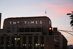 the times building at sunset