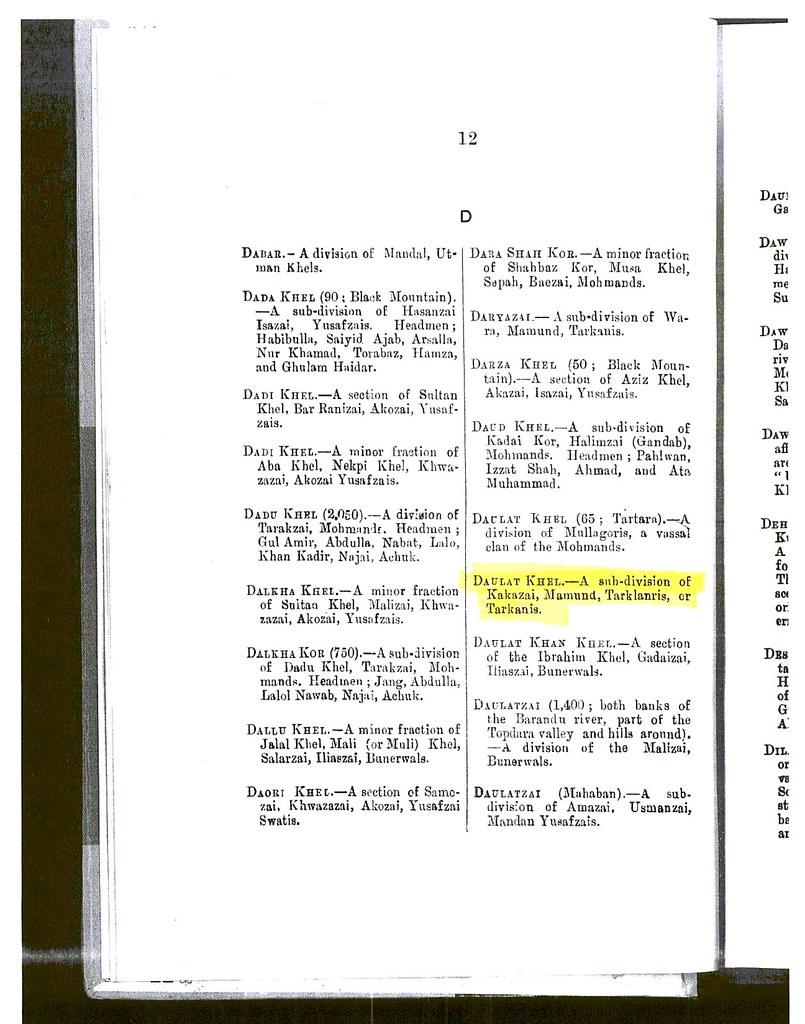 Daulat Khel - A sub-division of Kakazai Pathans - Page 12 from