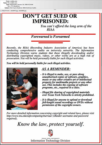 RIAA Warning to Students