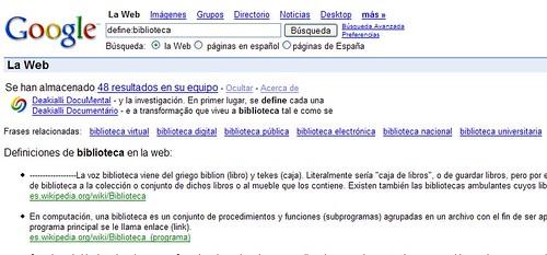 frases relacionadas en el operador define de google