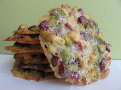 Pistachio-Cranberry Florentines with White Chocolate and Orange