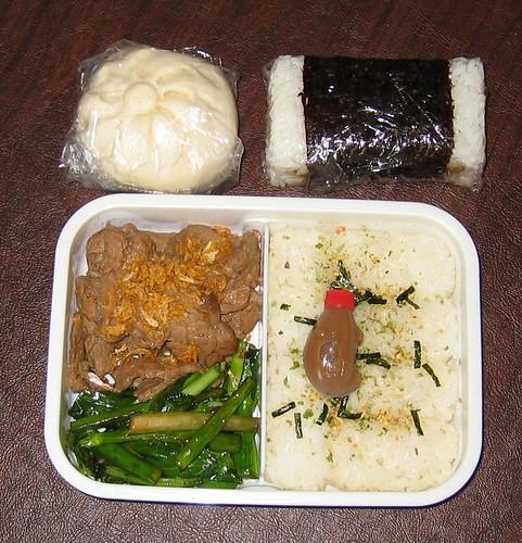 [bento with garlic pepper pork, veggies, rice, spam musubi, bun]