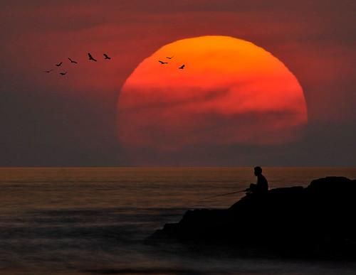 Fisherman and a Setting Sun