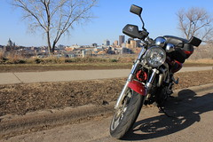 sv650 in front of downtown st. paul