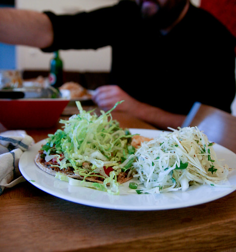 Tostadas and cabbage slaw