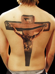 Salvador Dali`s cross tattoo photo by Miguel Angel tattoo