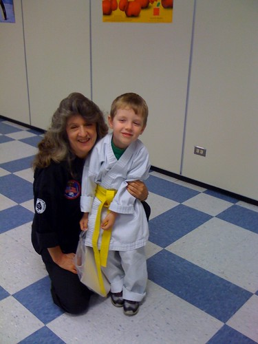 Harrison gets his yellow belt!