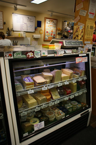 Cheese case at the Cheesemonger's