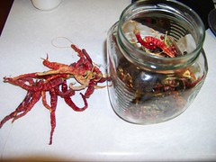 packing ristras into the jar