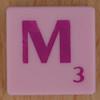 Scrabble pink tile letter M