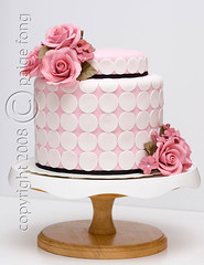 Pink Roses Wedding Cake photo by Paige Fong