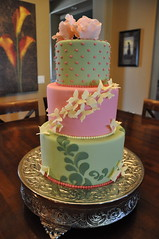 Pink Green & Yellow Butterflies & Flowers photo by Designer Cakes By April
