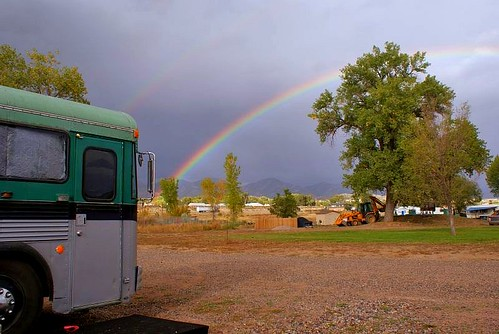 double rainbow and bus