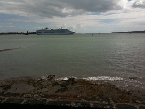 Cruise Liner anchored mid stream awaiting tsunami