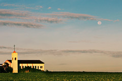 Full Moon Setting Over Church photo by AnnuskA  - AnnA Theodora