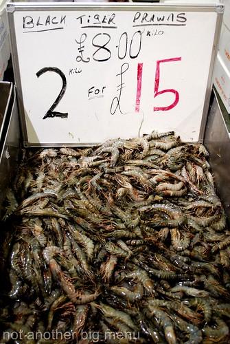 Billlingsgate fish market - tiger prawns