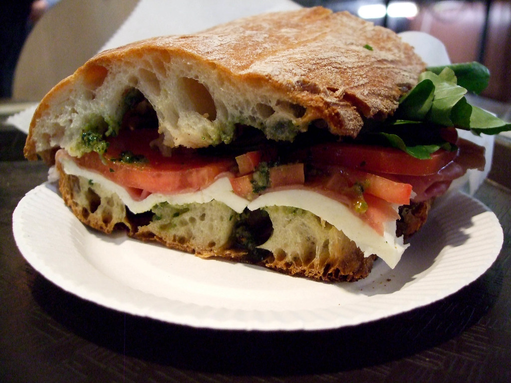 Prosciutto, Mozzarella and Tomato Sandwich, Corrado Bread and Pastry