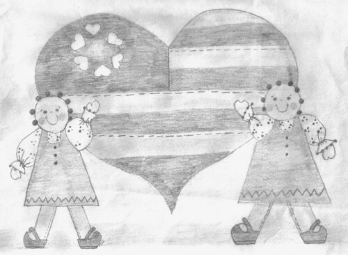 Primitive dolls with heart flag, drawn by Hope on 2/23/92