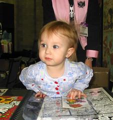 Emily guarding daddy's portfolio