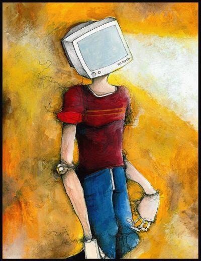 El Hombre Cabeza de Tele, compungido, en su adolescencia