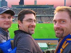 Andrey, Tom, and Jerry at Kiev soccer match