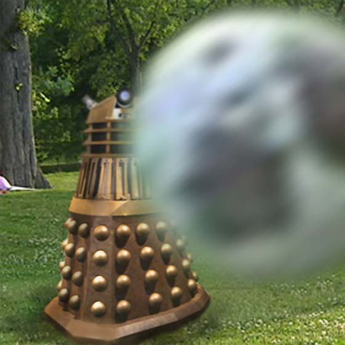 Dalek in park with boy 4