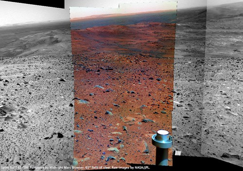 Spirit Sol 594 Pancam False-Color Context